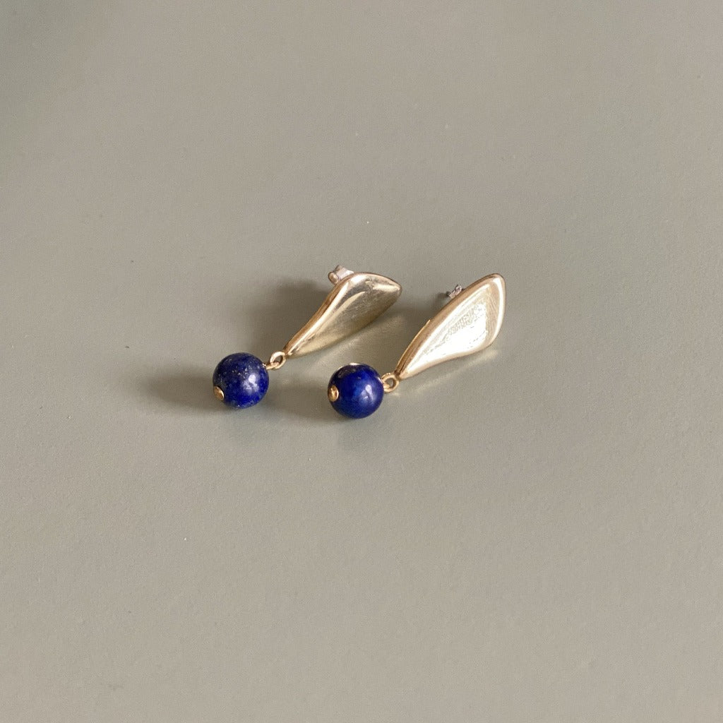 Artifacts NYC Petal Earrings Brass and Lapis