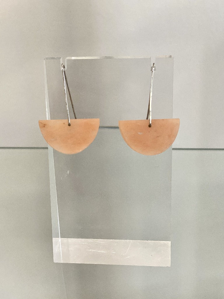 Alison Jean Cole Peach Aventurine Single Stone Earrings