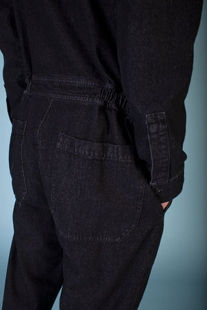LF Markey Mens Chatsbury Boilersuit Black Denim Jumpsuit