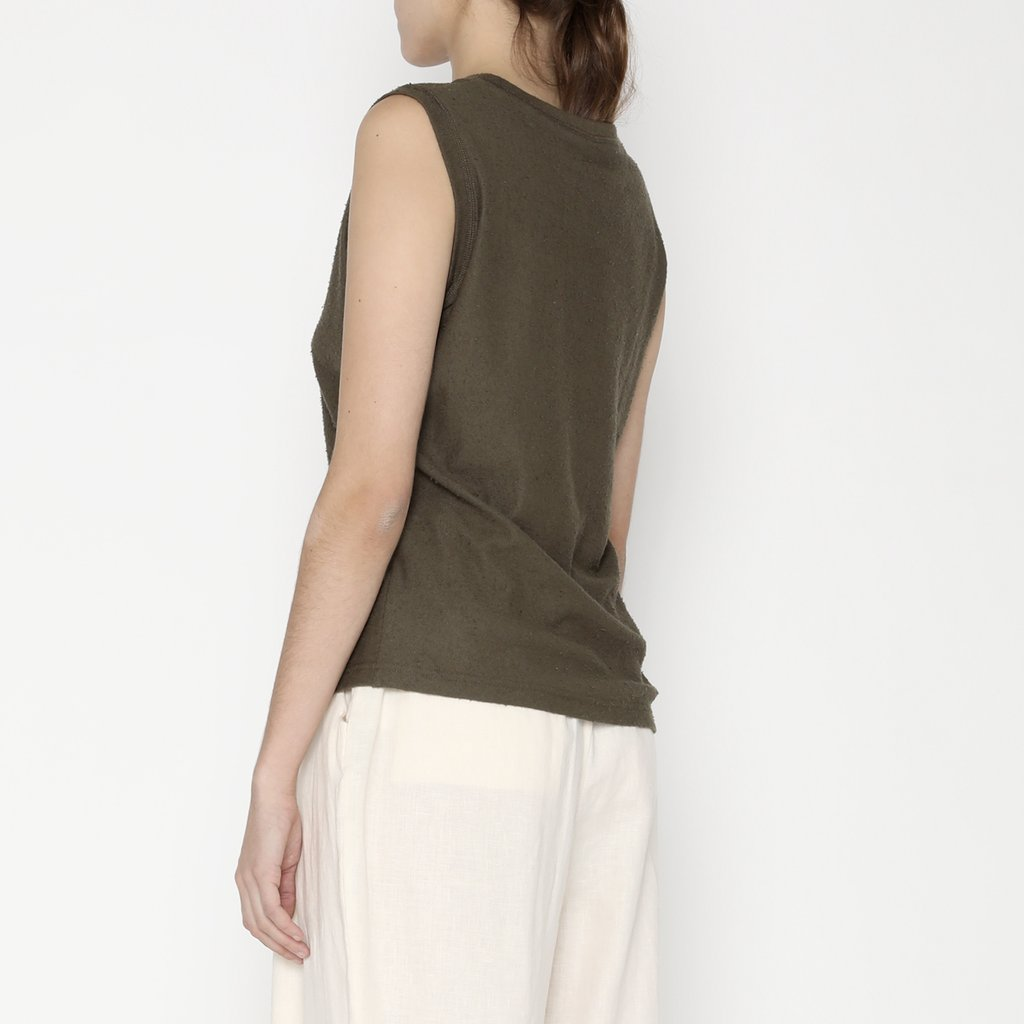 7115 by Szeki Textured Tank Tee Olive
