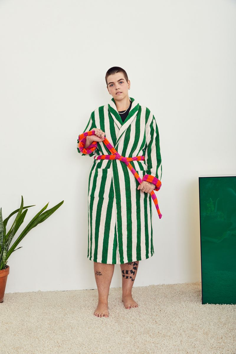 Dusen Dusen Bathrobe Green Stripe