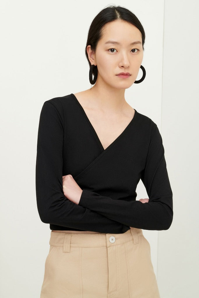 Kowtow Crossover Top Black Organic Cotton