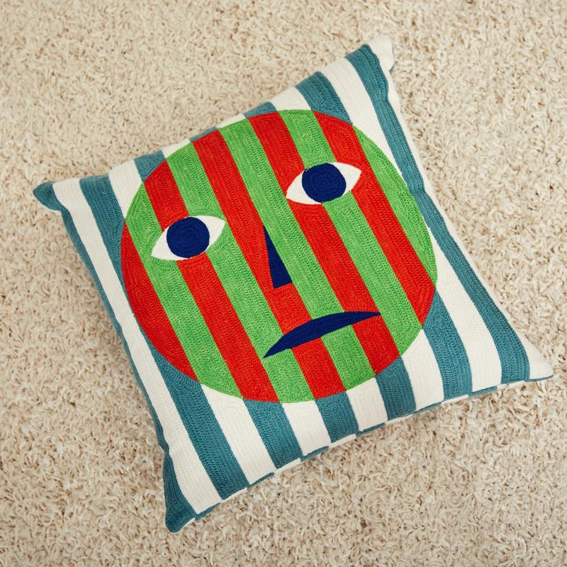 Dusen Dusen Face Embroidered Throw Pillow