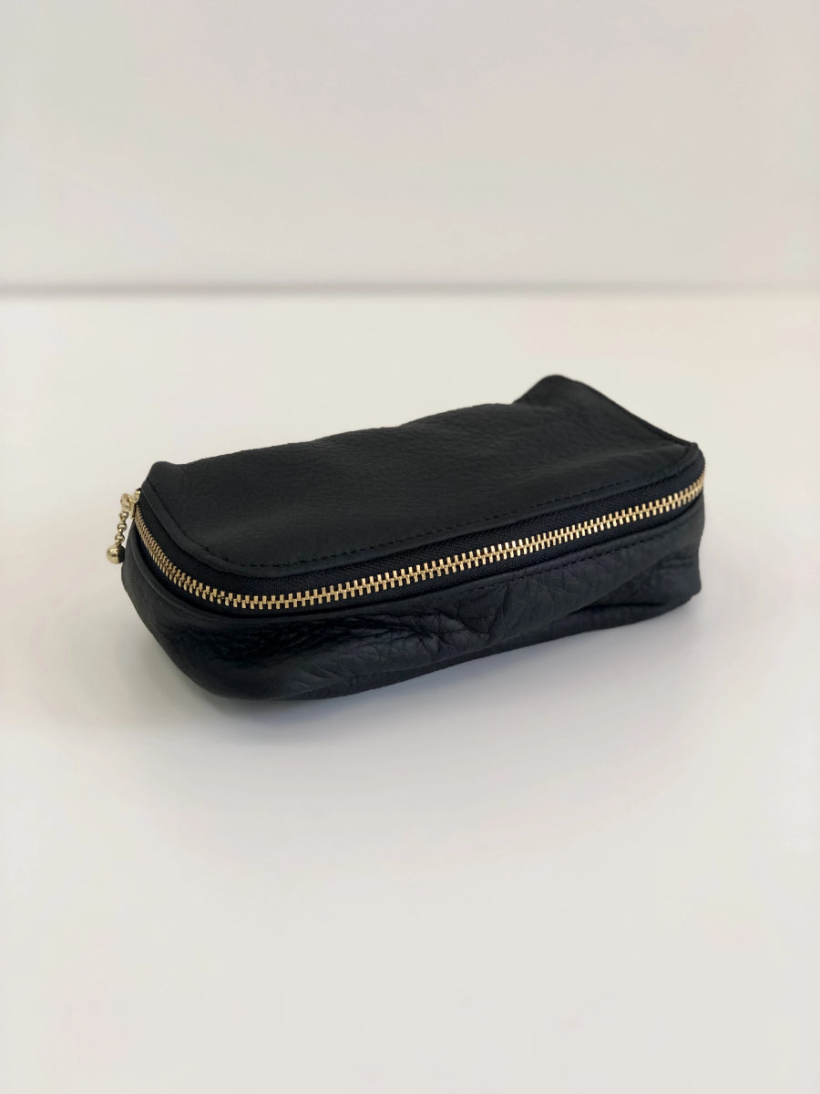 Erin Templeton Kiss and Makeup Bag Black Leather Pouch