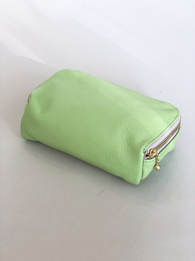 Erin Templeton Kiss and Makeup Bag Lime Leather Pouch