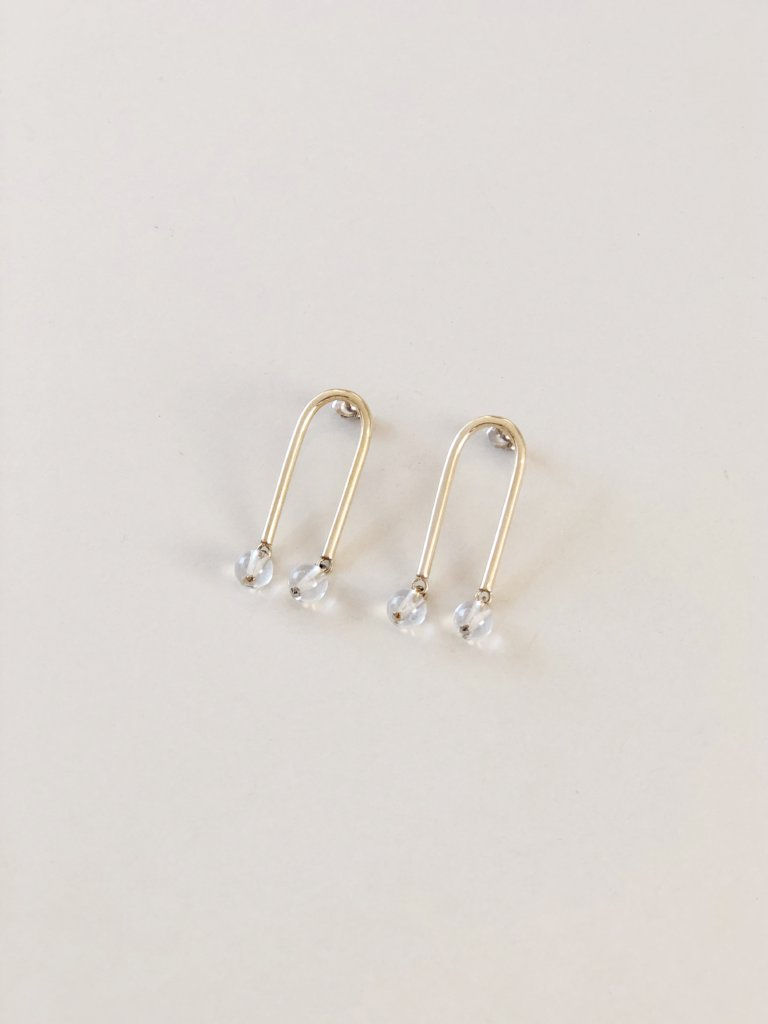 Artifacts NYC Mini Arch Earrings Brass Quartz Sterling Silver Posts