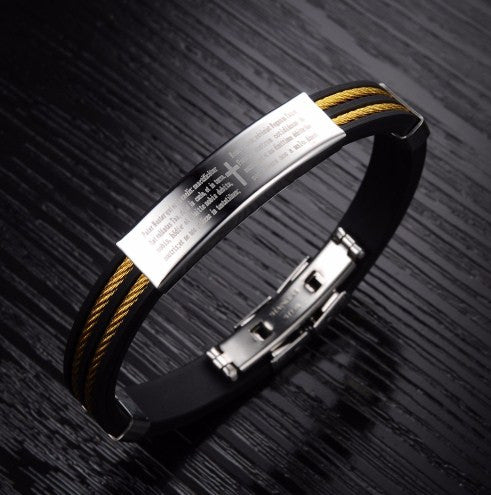 Length Classic Stainless Steel Black Silicone Bangles Unique Vintage Holy Bible Letter Christian Bracelets