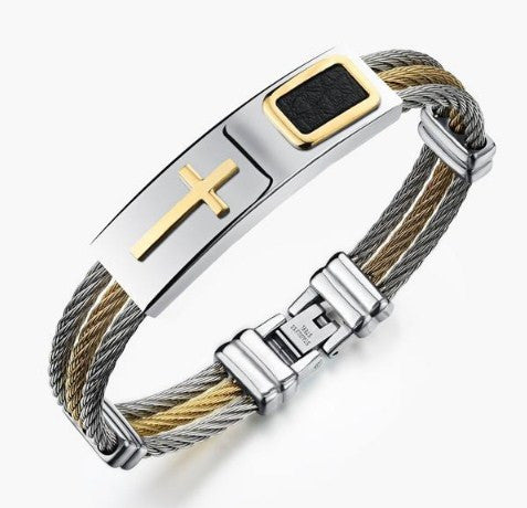 STAINLESS STEEL CROSS BRACELET BG61203-3