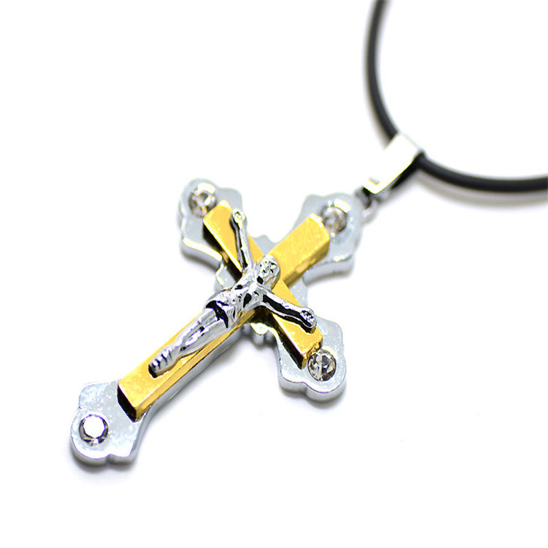 Classical Catholic Church Jesus Cross Rope Chain Necklace