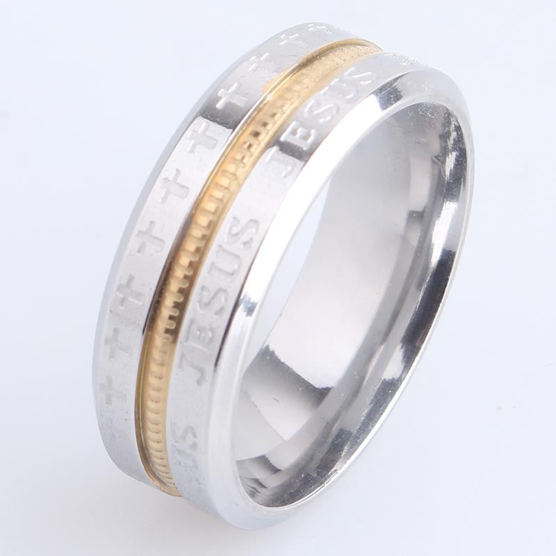 Jesus Cross border 316L Stainless Steel Wedding rings for women men