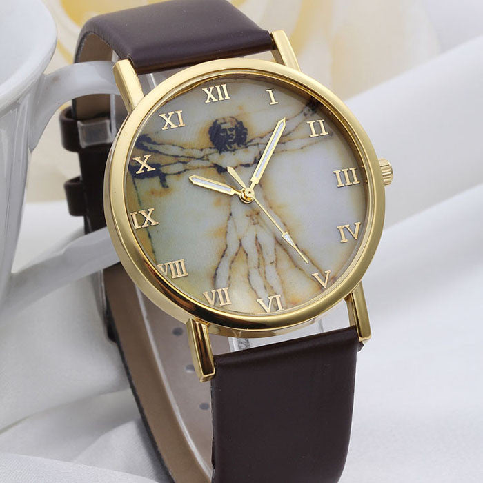 Masculino Jesus Pattern Leather Band Roman numberals Watch
