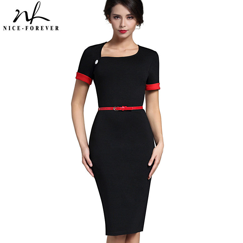 Nice-forever Classic Patchwork Short Sleeve  Slim Dress