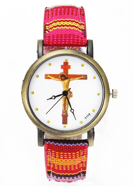 Jesus Christ Crucifixion Cross Christian Christianity Religious Casual Watches