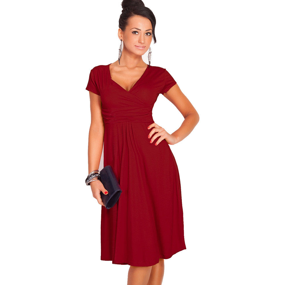 V-neck Short Sleeve  Dresses