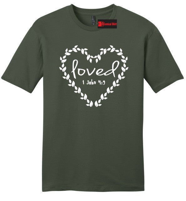 Loved Religious Mens Soft T Shirt Jesus Christian Bible Verse Graphic Tee