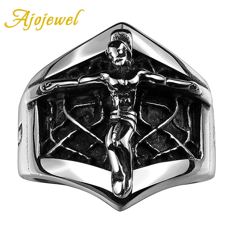 Ajojewel Cross Jesus Male Ring Stainless Steel Trend Cool Men Jewelry