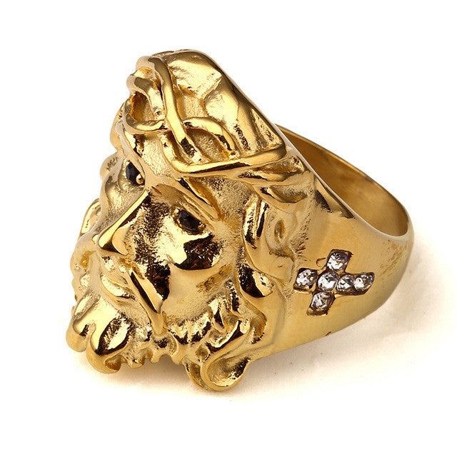 Golden Women Men Steel 3D Christ Jesus Rings
