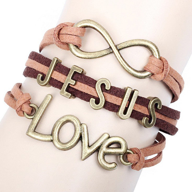 JESUS Love Brown Multilayerl Bangles Bracelet
