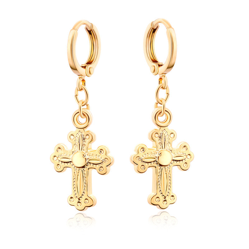 Yellow Gold Color Christian Jesus Crucifix Cross Hoop Earrings