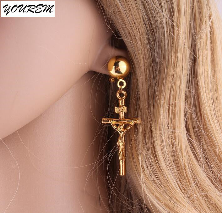 Jesus cross earrings for women
