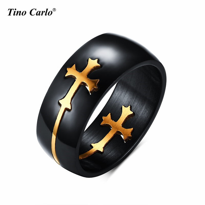Titanium Steel Black Separable Gold Cross Rings