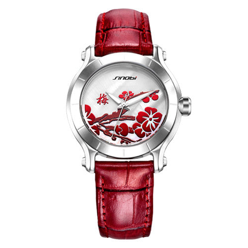 Red Leather Fashion Wristwatches
