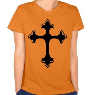 The Christian cross is long logo woman's casual T shirts