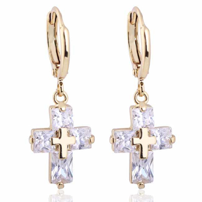 Zirconia CZ Jesus Cross Hoop Earrings