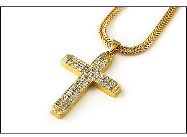 Wholesale   Jesus Crossing Pendant Necklaces Bling Church Hip Hop Jewelry Bible Lord Prayer Rhinestone Chain cross