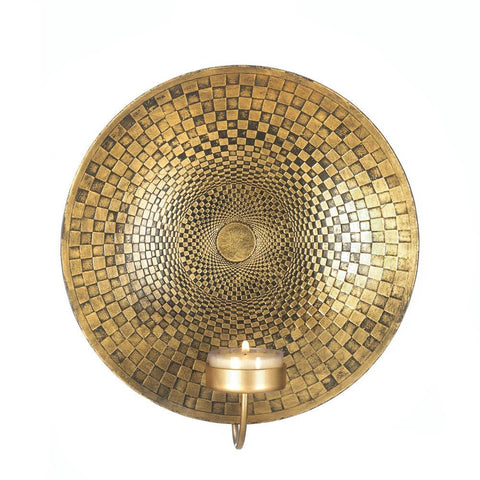 Geometric Golden Plate Wall Sconce