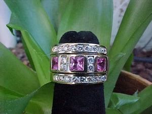 Pink sapphire + diamond gold ring (Sold)
