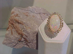 Opal + Diamond classic ring (Sold)