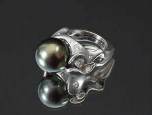 Award winning Tahitian black pearl + diamond 14K white gold ring
