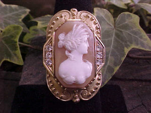 Cameo + Diamond 18K gold ring
