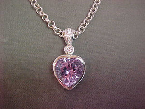 Pink Amethyst and Diamond pendant (Sold)