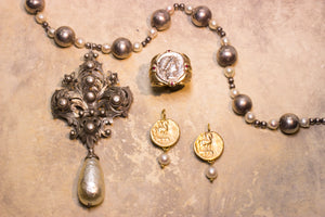 French Fleur de Lis pin-pendant with faux pearl drop