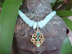 Indian floral pendant with tourmaline on Peruvian Opal necklace