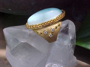 Turquoise + Diamond 18K gold ring