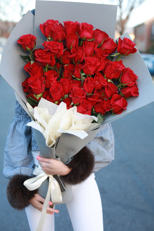 50 Stems - 75 Stems of HOT RED ROSES