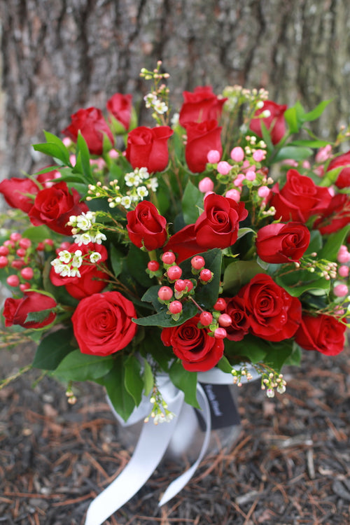 Two Dozen Hot Red Roses