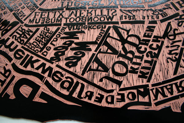 Amsterdam Linocut Map closeup