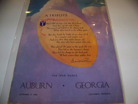 1945 Georgia Bulldogs Football Program vs. Auburn