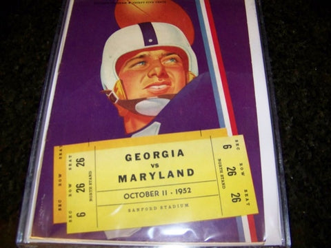 1952 Georgia Bulldogs Football Program vs. Maryland