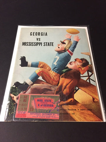 1961 Georgia Bulldogs Football Program & ticket vs. Miss. State