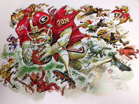 2014 Jack Davis Georgia Bulldogs Football Print