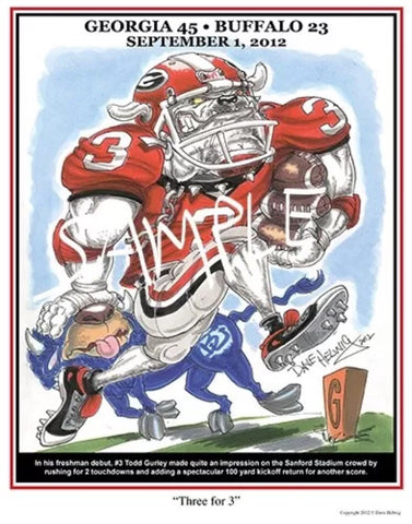 2012 Dave Helwig 'Three for 3' Todd Gurley Print Art