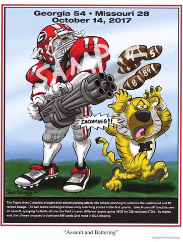 2017 Game Dave Helwig 'Assault and Battering' Jake Fromm Print Art