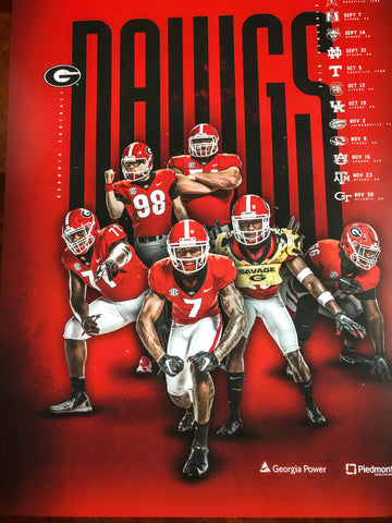 2019 Football Team Red Team Schedule Poster
