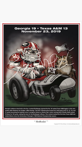 "2019 Dave Helwig  ""HotRodin"" Georgia Bulldogs Artwork"