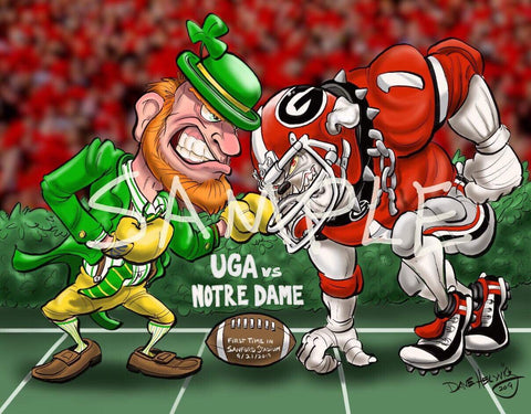 "2019 Dave Helwig ""UGA vs. Notre Dame"" Georgia Bulldogs Artwork"